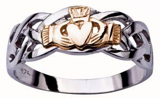 Mens White & Rose Gold Claddagh Celtic Wedding Ring