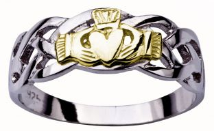 Mens White Yellow Gold Claddagh Celtic Wedding Ring