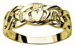 Mens 14K Gold coated Silver Claddagh Ring
