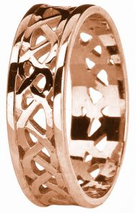 Rose Gold Celtic Band Ring Unisex Mens Ladies