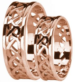 Rose Gold Celtic Band Ring Set