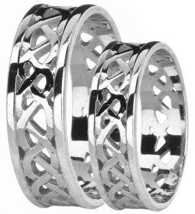 White Gold Celtic Band Ring Set