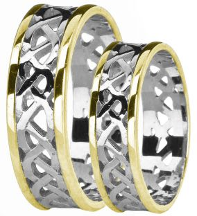 14K White & Yellow Gold coated Silver Celtic Band Ring Set