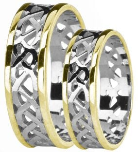 White & Yellow Gold Celtic Band Ring Set