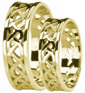 Gold Celtic Band Ring Set