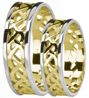 14K Yellow & White Gold coated Silver Celtic Band Ring Set