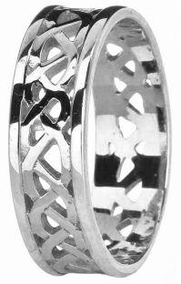 White Gold Celtic Band Ring Unisex Mens Ladies