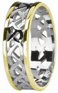 14K White & Yellow Gold coated Silver Celtic Band Ring Unisex Mens Ladies