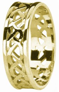 Gold Celtic Band Ring Unisex Mens Ladies