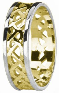 Yellow & White Gold Celtic Band Ring Unisex Mens Ladies