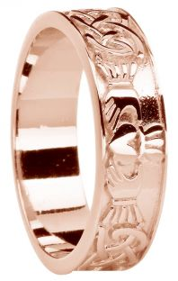 Ladies Rose Gold Celtic Claddagh Band Ring