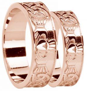 Rose Gold Celtic Claddagh Band Ring Set