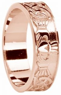 Mens Rose Gold Celtic Claddagh Band Ring