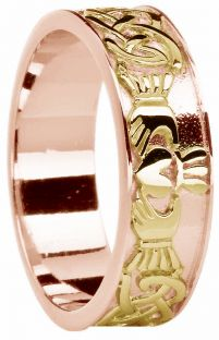 Mens Rose & Yellow Gold Celtic Claddagh Band Ring