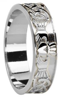 Ladies 14K White Gold coated Silver Celtic Claddagh Band Ring