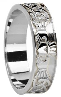 Ladies White Gold Celtic Claddagh Band Ring