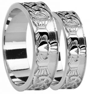 White Gold Celtic Claddagh Band Ring Set