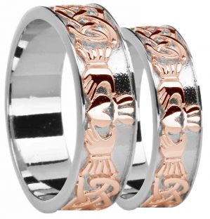 White & Rose Gold Celtic Claddagh Band Ring Set