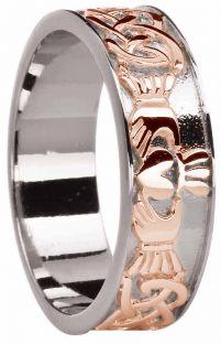 Mens White & Rose Gold Celtic Claddagh Band Ring