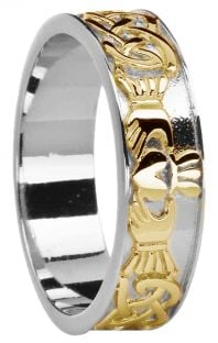 Ladies 14K White & Yellow Gold coated Silver Celtic Claddagh Band Ring