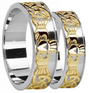 14K White & Yellow Gold coated Silver Celtic Claddagh Band Ring Set