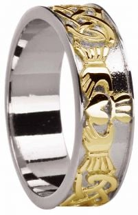 Mens 14K White Gold Silver Celtic Claddagh Ring