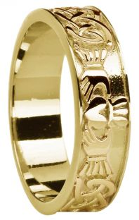 Ladies 14K Gold coated Silver Celtic Claddagh Band Ring
