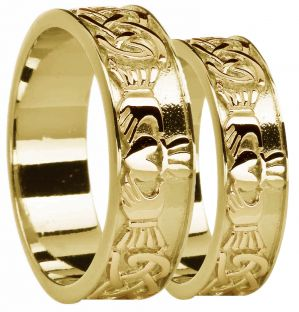 Gold Celtic Claddagh Band Ring Set