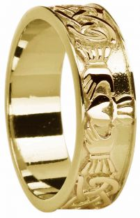 Mens 14K Gold coated Silver Claddagh Celtic Band Ring