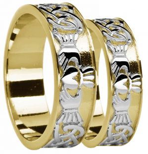 Yellow & White Gold Celtic Claddagh Band Ring Set