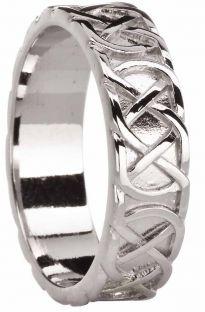 "Mens White Gold Celtic ""Eternity Knot"" Wedding Band Ring"