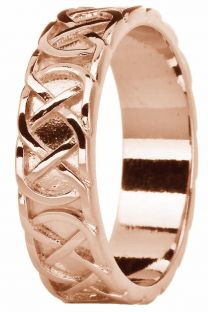 "Mens Rose Gold Celtic ""Eternity Knot"" Wedding Band Ring"