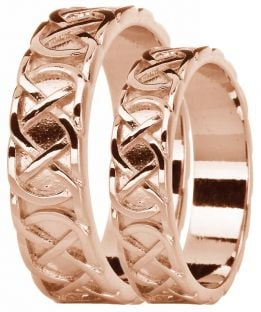 "14K Rose Gold coated Silver Celtic ""Eternity Knot"" Band Ring Set"