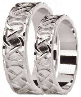 "Silver Celtic ""Eternity Knot"" Band Ring Set"
