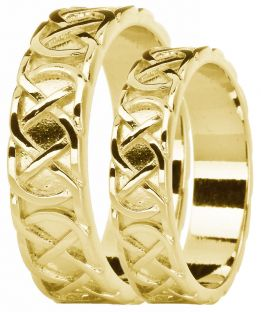 "Yellow Gold Celtic ""Eternity Knot"" Wedding Band Ring Set"