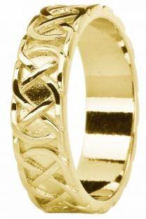 Mens 14K Yellow Gold Silver Celtic Eternity Knot Ring