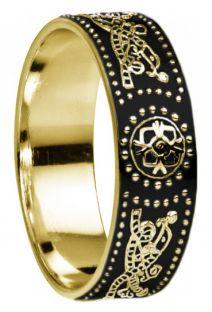 Mens 14K White Gold Silver Celtic Warrior Ring