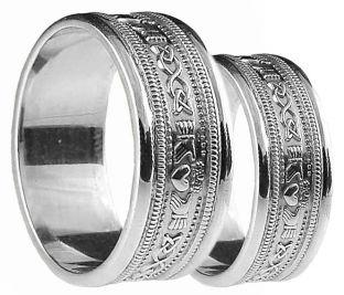 White Gold Claddagh Celtic Wedding Band Ring Set