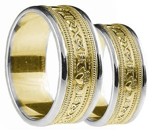 Yellow & White Gold Claddagh Celtic Wedding Band Ring Set