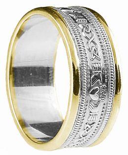 White & Yellow Gold Claddagh Celtic Wedding Band Ring unisex