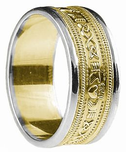 Mens Yellow & White Gold Claddagh Celtic Wedding Band Ring