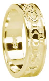 """Ladies 14K Gold coated Silver """"Love Forever"""" Claddagh Band Ring"""