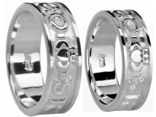 "Silver ""Love Forever"" Claddagh Band Ring Set"