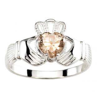 Ladies Champagne Stone Silver Claddagh Ring