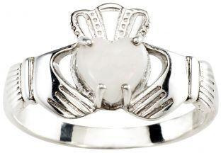 Ladies Opal Silver Claddagh Ring - October Birthstone