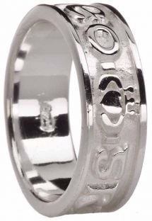 """Mens White Gold  """"Love Forever"""" Claddagh Wedding Band Ring"""
