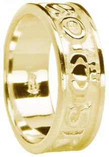 """Mens Gold """"Love Forever"""" Claddagh Wedding Band Ring"""
