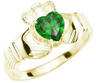 Ladies Emerald Gold Claddagh Ring - May Birthstone