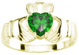 Ladies Emerald Gold Silver Claddagh Ring - May Birthstone