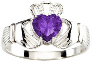 Ladies Amethyst Silver Claddagh Ring - September February
